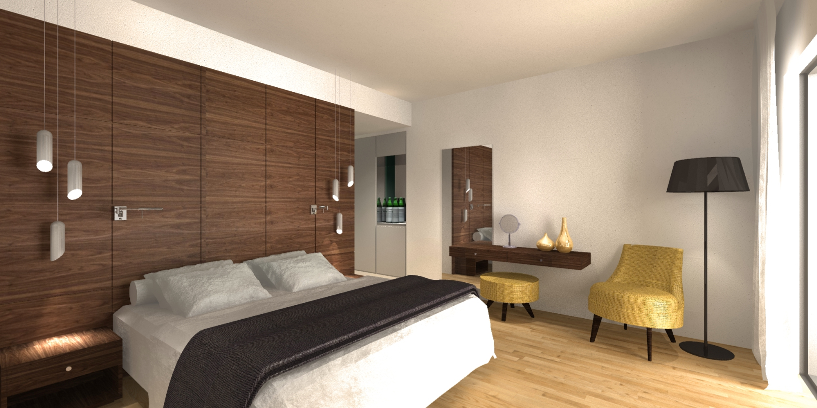 An island hotel room interior for Room interior